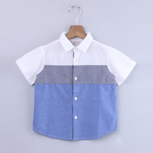 Beebay Marine Chambray Colorblock Shirt For Infants