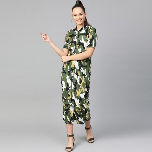 Graceful Green Colored Casual Wear Printed Flared Ankle length Crepe Dress