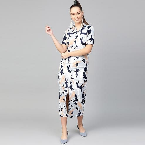 Blooming Navy Blue Colored Casual Wear Printed Flared Ankle length Crepe Dress