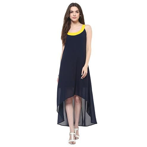 Engrossing Navy Blue Colored Casual Wear Solid High-Low Maxi Polyester Dress