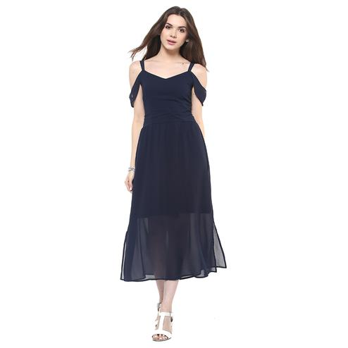 Captivating Navy Blue Colored Casual Wear Solid Flared Maxi Polyester Dress