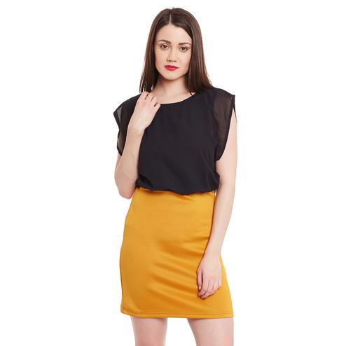 Blissful Black Colored Casual Wear Solid Flared Above Knee Polyester Dress