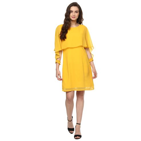 Ideal Yellow Colored Casual Wear Solid Straight Knee-Length Polyester Dress
