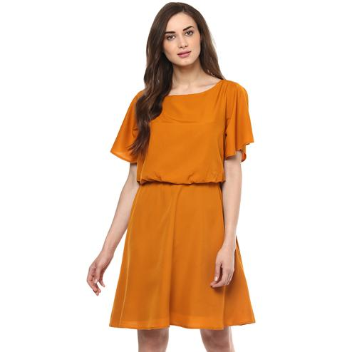 Imposing Mustard Colored Casual Wear Solid Straight Knee-Length Crepe Dress
