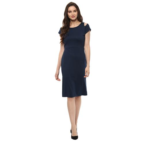 Majesty Navy Blue Colored Casual Wear Solid Straight Knee-Length Polyester Dress