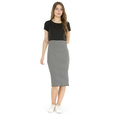 Arresting Black Colored Casual Wear Printed Curved Midi Polyester Dress