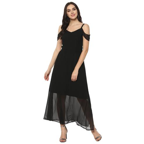 Desirable Black Colored Casual Wear Solid Flared Maxi Polyester Dress