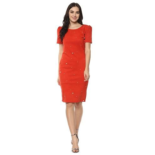 Exotic Red Colored Casual Wear Solid Straight Knee-Length Polyester Dress