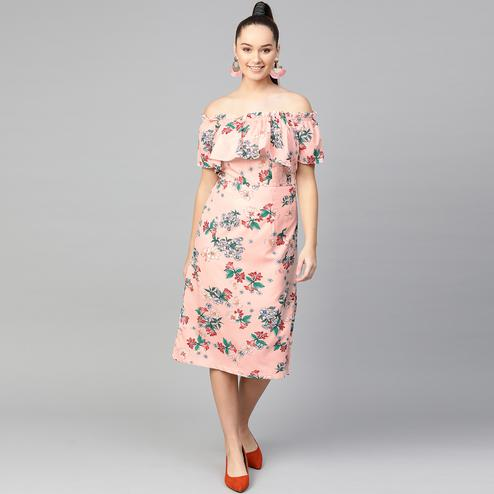 Trendy Peach Colored Casual Wear Printed Fitted Midi Polyester-Crepe Dress