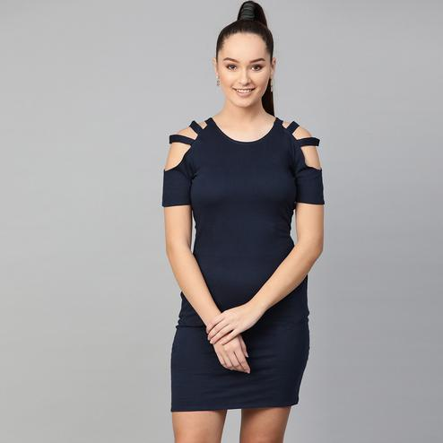 Elegant Navy Blue Colored Casual Wear Solid Straight knee-Length Cotton Dress