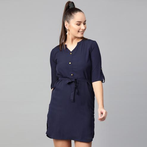 Radiant Navy Blue Colored Casual Wear Solid Straight Knee-Length Polyester Dress
