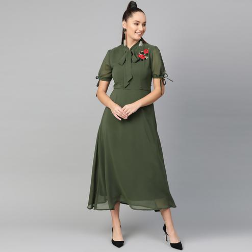 Glowing Dark Olive Green Colored Casual Wear Solid Polyester Dress