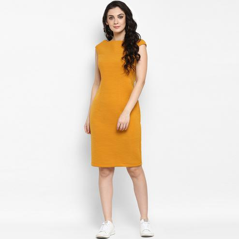 Exceptional Mustard Colored Casual Wear Solid Polyester Dress