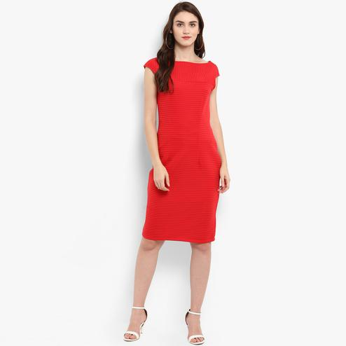 Unique Red Colored Casual Wear Solid Polyester Dress