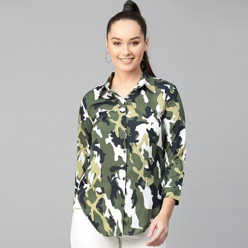 Intricate Green Colored Casual Wear Abstract Printed Crepe Top