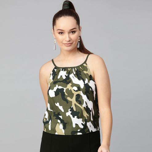 Desirable Green Colored Casual Wear Abstract Printed Crepe Top