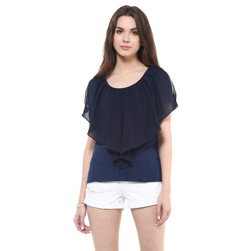 Adorning Navy Blue Colored Casual Wear Solid Crepe Top
