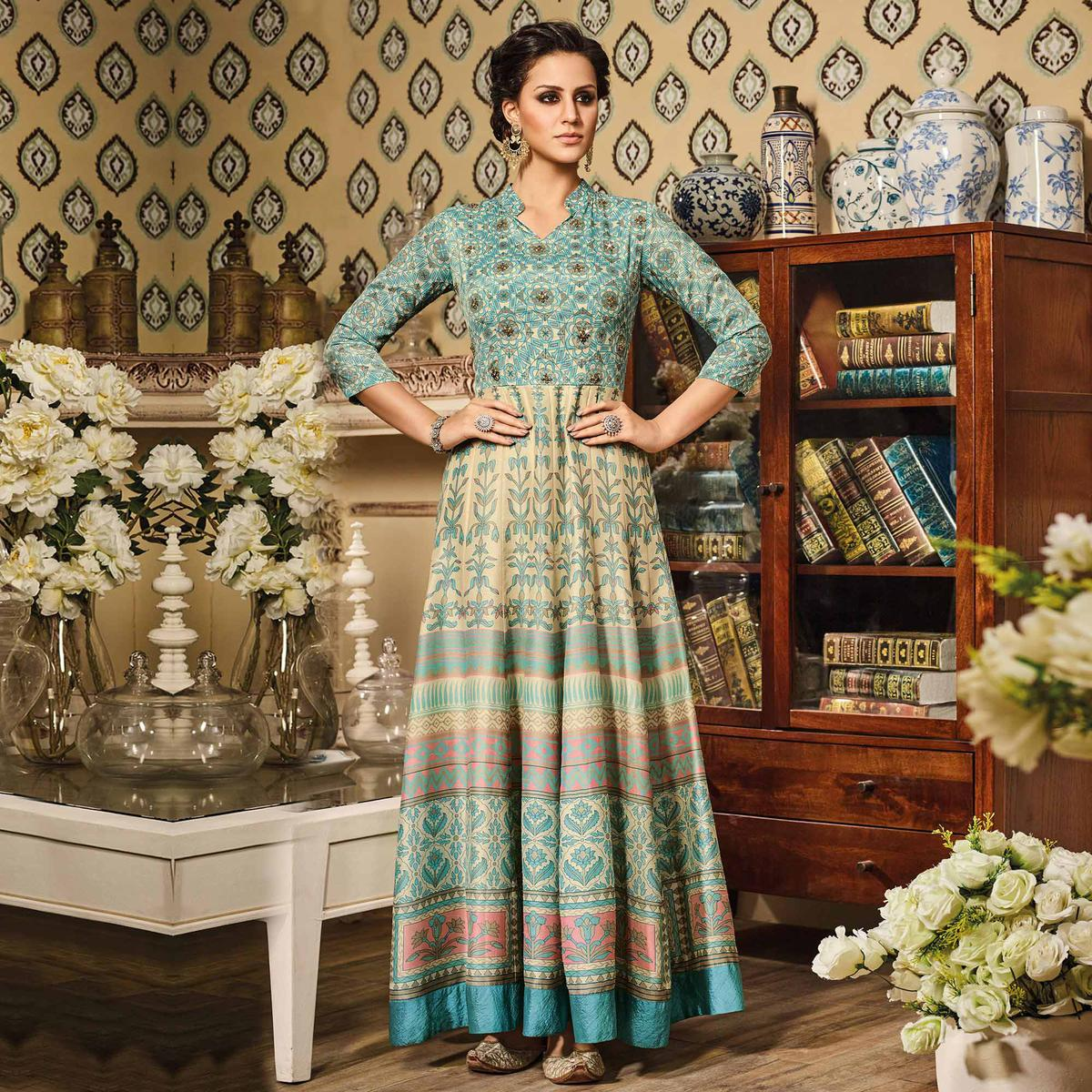 Cream - Light Blue Art Silk Anarkali Suit