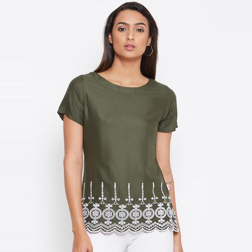Sethi Daughters Women Olive Color Embroidered Rayon Top