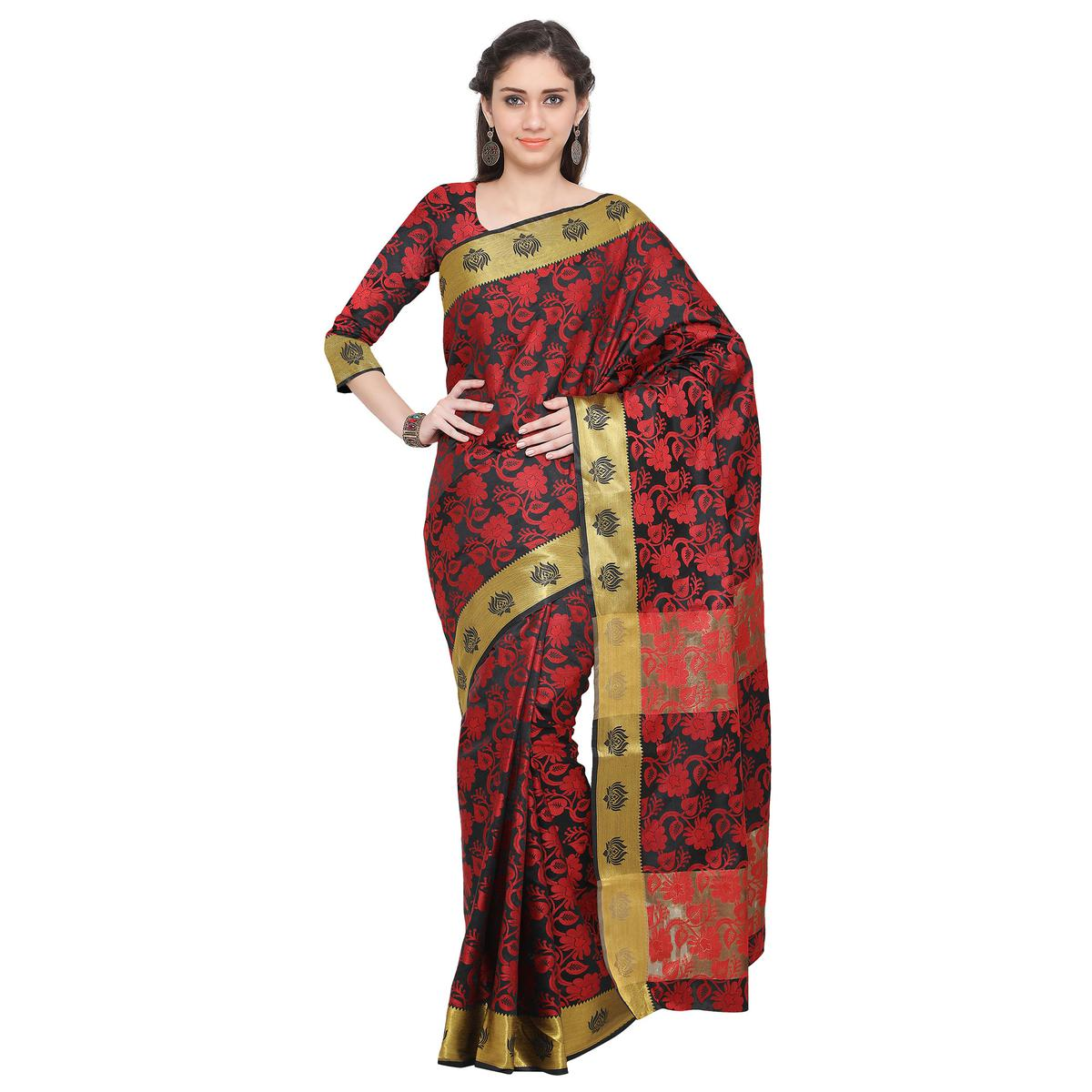 Black - Red Weaving Work Cotton Silk Saree
