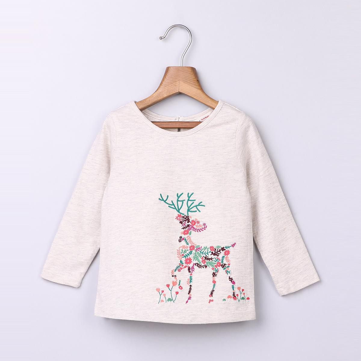 Beebay Reindeer Embroidered T-Shirt For Kids