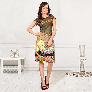 Multi Color Printed Crepe Kurti