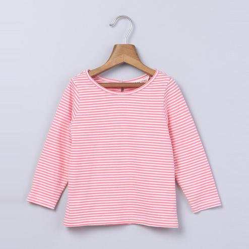 Beebay Pink Stripe Full Sleeve T-Shirt For Kids
