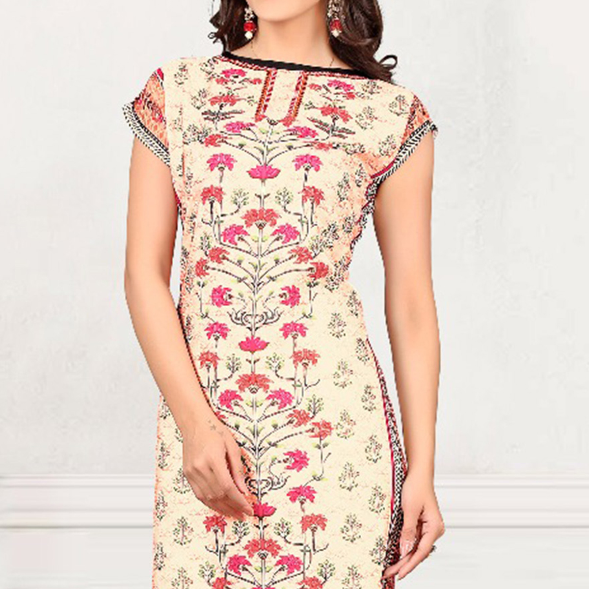 Multicolored Casual Wear Crepe Kurti