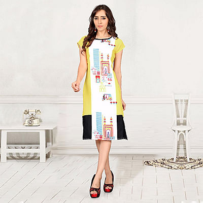 Multi Color Casual Wear Printed Kurti