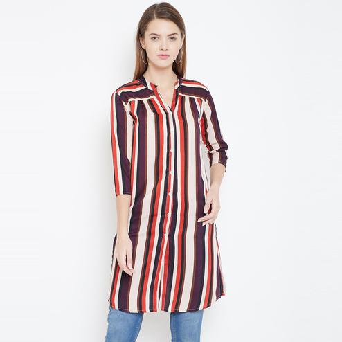 Sethi Daughters Women Beige and Multicolor Stripe Printed Long Crepe Tunic