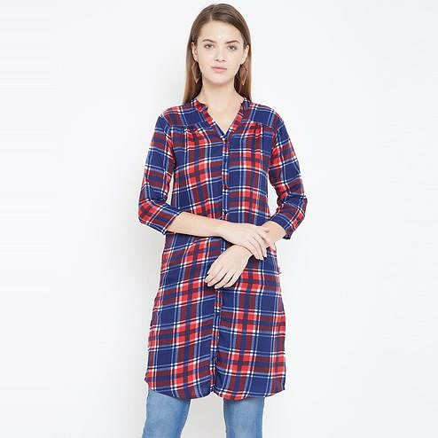 Sethi Daughters Women Multicolor Checked Printed Long Crepe Tunic