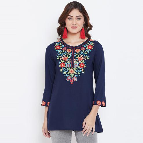 Sethi Daughters Women Navy Blue Color Embroidered Rayon Tunic