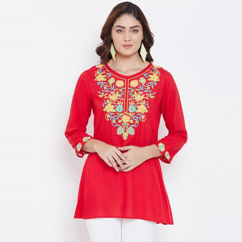 Sethi Daughters Women Red Color Embroidered Rayon Tunic