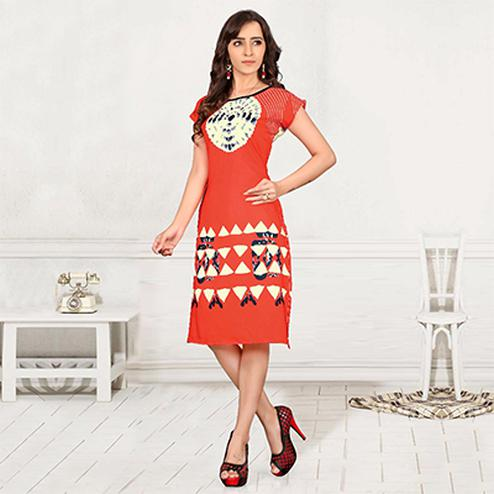 Red Casual Wear Printed Stitched Kurti