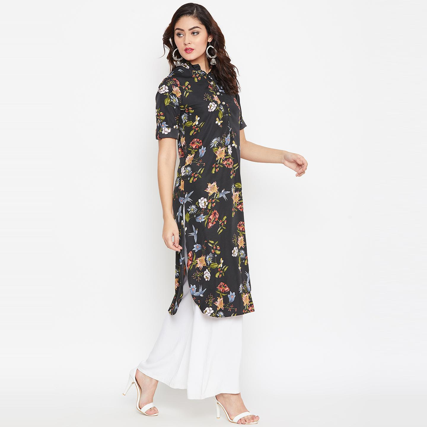 Sethi Daughters Women Black and Multicolor Floral Printed Crepe Kurti