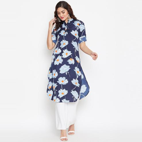 Sethi Daughters Women Navy Blue and Multicolor Printed Crepe Kurti
