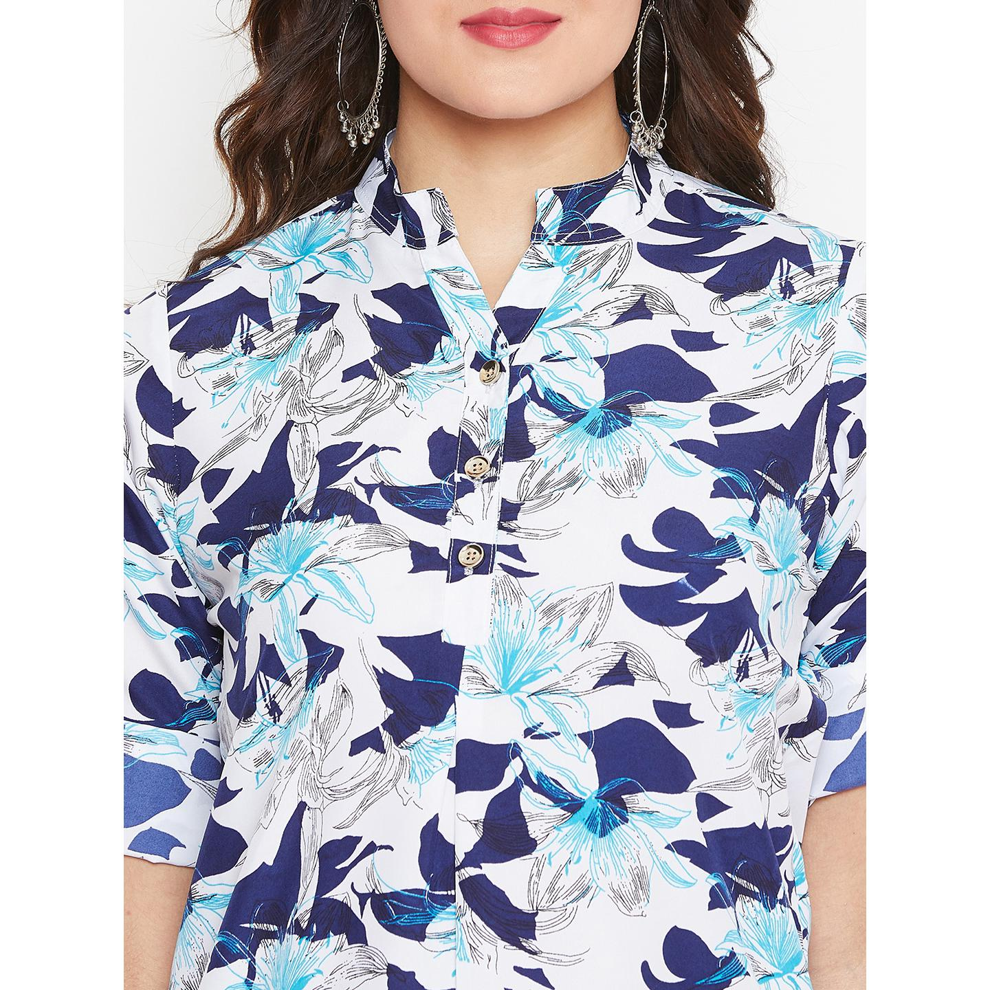 Sethi Daughters Women White and Blue Color Floral Printed Crepe Kurti