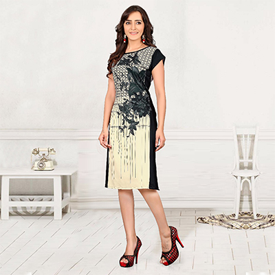 Cream - Black Casual Wear Kurti