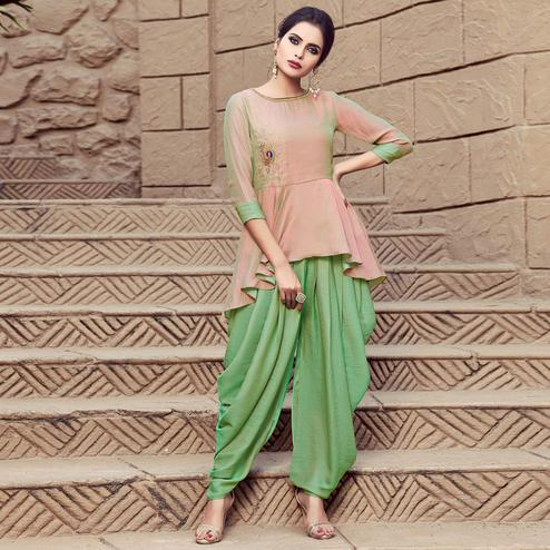 Blooming Light Peach-Green Colored Party Wear Embroidered Cotton Silk Indo Western Dress