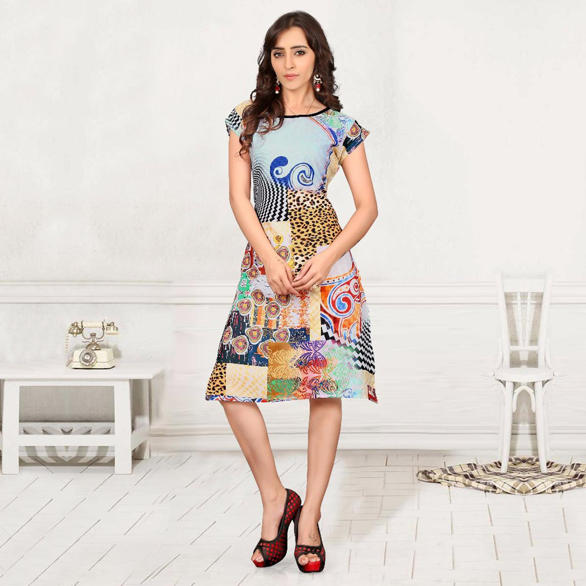 Multicolored Digital Printed Crepe Kurti