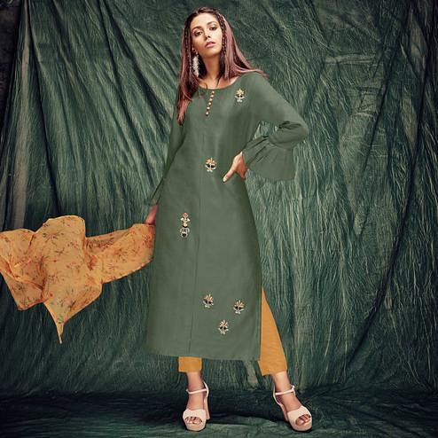 Ideal Green Colored Casual Wear Embroidered Silk Kurti With Dupatta