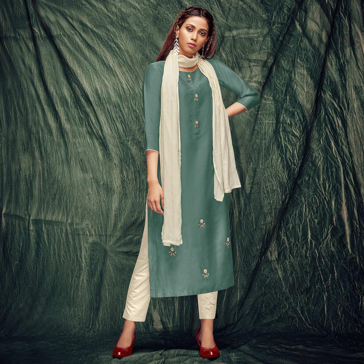 Imposing Mint Green Colored Casual Wear Embroidered Art Silk Kurti With Dupatta