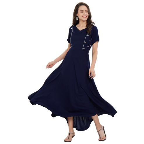 Majesty Navy Blue Colored Party Wear Rayon Kurti
