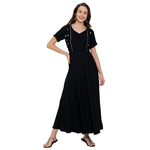 Impressive Black Colored Party Wear Rayon Kurti