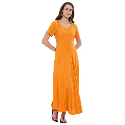 Mesmerising Orange Colored Party Wear Rayon Kurti