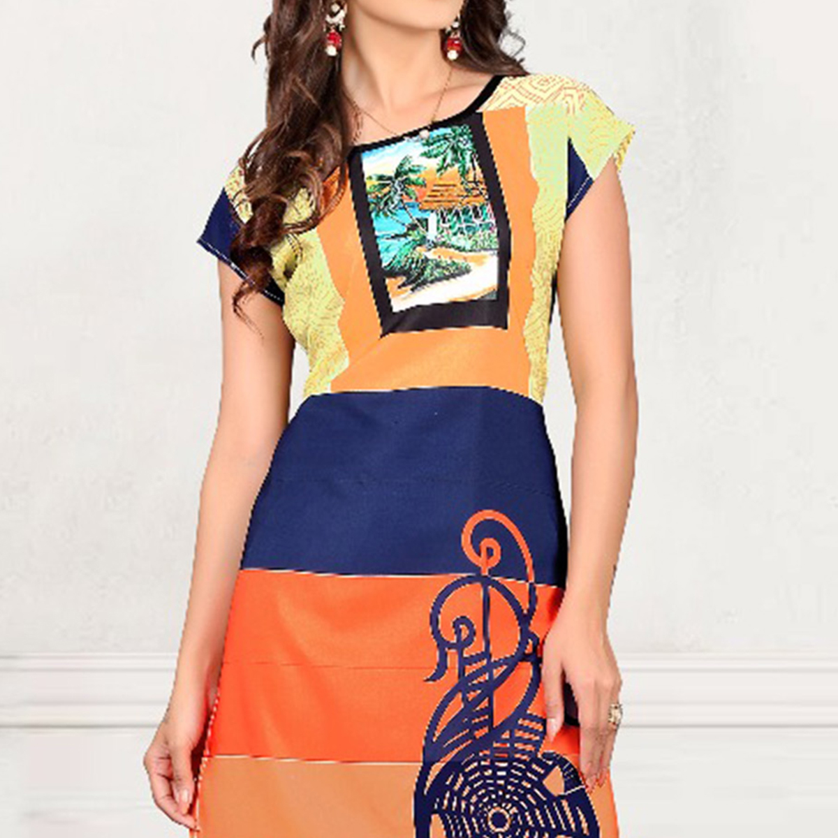 Multi Color Digital Printed Crepe Kurti