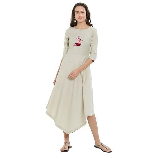 Breathtaking Off White Colored Party Wear Rayon Kurti