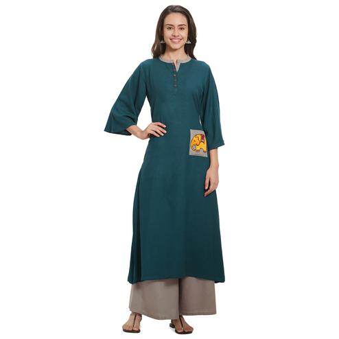 Ethnic Teal Blue Colored Casual Wear Pocket Style Rayon Kurti-Palazzo Set