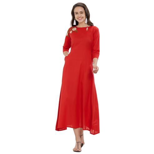 Ravishing Red Colored Party Wear Embroidered Cotton Kurti