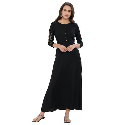 Staring Black Colored Party Wear Embroidered Rayon Kurti
